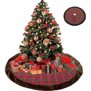 VNEIRW Weihnachtsbaumdecke Plaid Weiche Weihnachtsbaum Rock Baumdecke Plüsch XmasTree Rock für Weihnachtsdekoration Neujahr Party Urlaub Dekorationen 112cm (Rot)