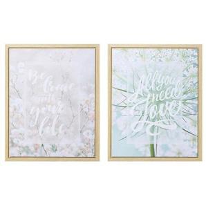 Leinwandbild »Flower Sense«, Schriftzug, Blume (Set), gerahmt