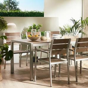 Gartenmöbel Set Aluminium Kunstholz braun 6-Sitzer VERNIO