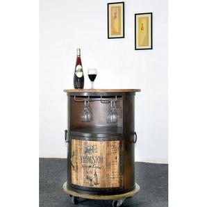 Weinbar Metall Schwarz/Mangoholz Natur ca. 60 x 85 x 60 cm