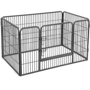 FEANDREA Welpenauslauf für Hunde Kaninchen kleine Haustiere 122 x 70 x 80cm by SONGMICS Grau PPK74G