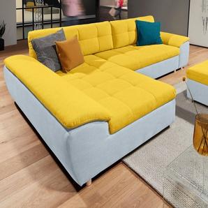 Raum.id Eckcouch mit Schlaffunktion und Bettkasten, blau, B/H/T: 280x42x53cm, Inkl. Rückenkissen, hoher Sitzkomfort