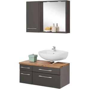 Badmöbel-Set mit Hängeschrank und Spiegel »Davos«, weiß, Siphonausschnitt rechts, Held Möbel