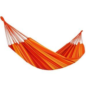 RESTPOSTEN: OUTFLEXX Hängematte, orange gestreift, Baumwolle/Polyester, Handarbeit aus Brasilien, 380 x 145 cm