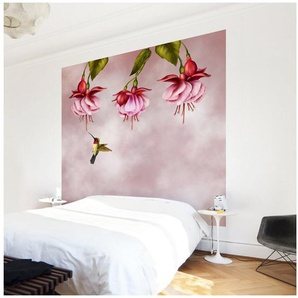 Bilderwelten Vliestapete Blumen Quadrat »Kolibri«