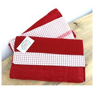 heimtexland ® 5 Stück Küchenhandtücher 100% BW Geschirrtücher 50x70 Karo Frottee Trockentücher 5er Set rot Typ621