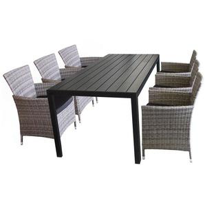 7tlg Gartengarnitur Gartentisch, Tischplatte Polywood Schwarz, 200x90cm + 6x Rattansessel, Polyrattanbespannung Grau-meliert, inkl. Sitzkissen - WOHAGA®