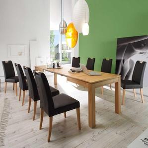 Esszimmer Sitzgruppe mit Kernbuche Massivholztisch ausziehbar (9-teilig)