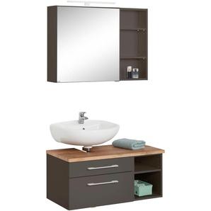 Badmöbel-Set mit Regal und Spiegelschrank , weiß, Siphonausschnitt links, »Davos«, Held Möbel
