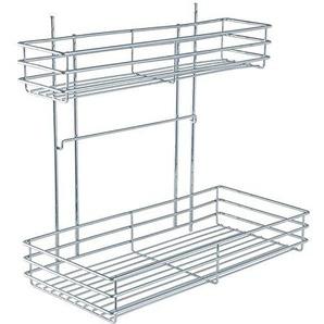 WENKO 5930100 Schrankauszug Duo - ausziehbares Doppelregal, Montage im Küchenschrank, Chrom, 22 x 47 x 44 cm