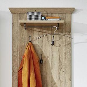Stella Trading Wandboard Wandpaneel mit Ablage und Garderobenharken, Holzdekor, Gran Oak Hell, 30 x 78 x 129 cm