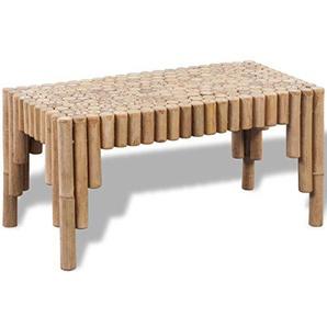 vidaXL Couchtisch Bambus Beistelltisch Kaffeetisch Bambustisch Design Tisch