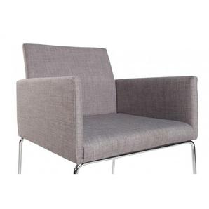 Eleganter Design Stuhl LIVORNO Strukturstoff grau Konferenzstuhl mit Armlehne