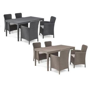 Allibert Gartenmöbel Set »Girona-Miami«, mit 4 Sesseln, 1 Tisch, in Rattanoptik, wetterfest