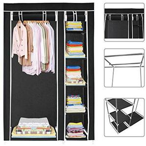 Todeco - Stoffschrank, Stoff-Garderobe - Material: Edelstahlrohre - Abschlusstyp: Klettteile und Reißverschluss - 2 Türen, 172 x 105 x 43 cm, Schwarz