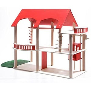 Wendelstein Werkstätten Puppenhaus Villa Rossa - rot - ohne Möbel und Puppen