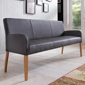 Sitzbank ALFO  Farbe wählbar Buche , Eiche Echtleder Breite 123 cm