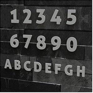 Colours-Manufaktur Hausnummer Modern 0-9 und A-H *Made IN Germany* viele Größen wählbar (15 cm, Edelstahl gebürstet)