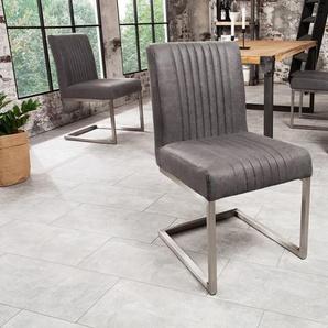 Moderner Freischwinger Stuhl BIG ASTON vintage grau Edelstahlrahmen