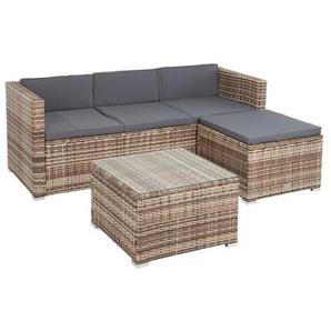 Rattan Sitzgruppe Lounge Gartenmöbel Set Polyrattan Möbel 3-Sitzer Sofa beige - ESTEXO