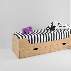 Harris Bett mit Stauraum (90 x 190 cm), Eiche