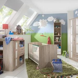 Babyzimmer 6-tlg. Eiche-Sägerau-Dekor, Schrank B: 135 cm, Kinderbett 70 x 140 cm, Wickelkommode B: 91 cm, Unterschrank, Hängeregal