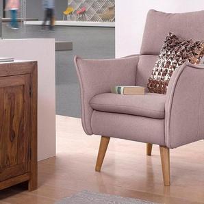 Home affaire Sessel, mit Steppung,im Rücken und 1 Zierkissen,im gleichen Bezugsstoff, rosa, Struktur weich