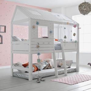 LIFETIME Hütten-Hochbett aus Kiefer weiß lackiert - Sternenglanz