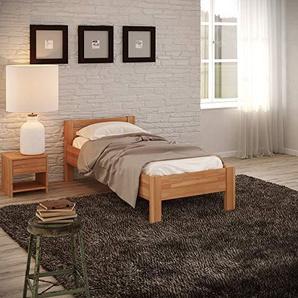 Krokwood Seniorenbett SiSi Massivholzbett in Buche in Komforthöhe FSC 100% Massiv Einzelbett, Natur geölt Buchebett, Billig Holzbett mit Kopfteil, massivholz Bett vom Hersteller (120 x 200 cm)