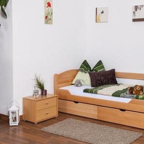 Einzelbett / Funktionsbett Easy Premium Line K1/s Voll inkl 2 Schubladen und 2 Abdeckblenden, 90 x 200 cm Buche Vollholz massiv Natur
