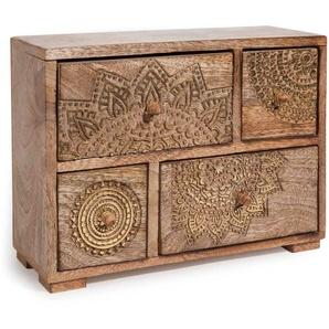 Box mit 4 Schubladen aus Mangoholz mit goldfarbenen Motiven H21