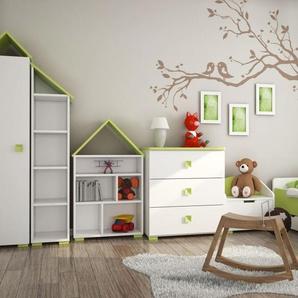 Kinderzimmer Komplett - Set B Daniel, 6-teilig, Farbe: Weiß / Grün