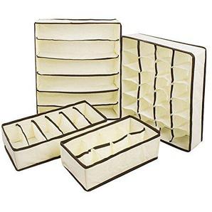 Fablcrew Aufbewahrungsboxen Schrank Organizer Schublade Organizer Storage Box Für Unterwäsche Socken Bras 4er Set (Beige)