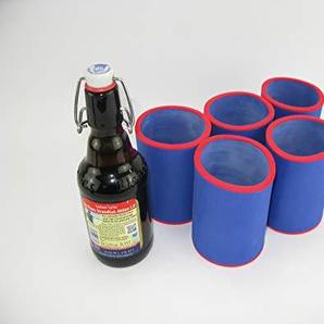 asiahouse24 5er Set Blau Getränkekühler 0,33l Flaschenkühler - Stubby - Bierkühler - Neoprenkühler - passgenau ~Flaschenkühler~ für alle genormten 0,33l dickbäuchigen Bierflaschen 5-6mm Neopren