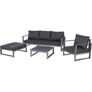 Mandalika Garden Aluminium Lounge Gartenmöbel-Sitzgruppe Bellissima, inkl. Tisch und Kissen grau