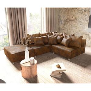Ecksofa Clovis Braun Antik Optik Hocker Ottomane Links Modulsofa, Design Ecksofas, Couch Loft, Modulsofa, modular