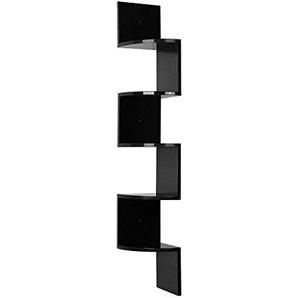 HOMFA Eckregal Zickzackregal Bücherregal Hängeregal Büroregal Raumteiler Wandablage Wandboard 5 Regalböden beschichtet Belastbarkeit bis ca.15kg 20x20x123cm (Schwarz)