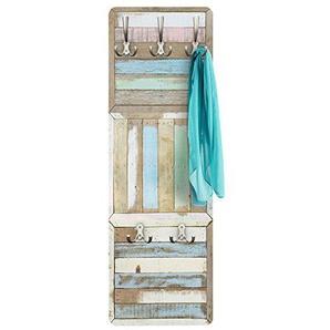 BIlderwelten Garderobe Vintage - Rustic Timber - natura maritim - Garderobe Landhaus | Design Garderobe Garderobenpaneel Kleiderhaken Flurgarderobe Hakenleiste Holz Standgarderobe Hängegarderobe | 139x46cm