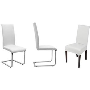 Beautex Stuhlhusse Jersey, 2er Set elastische Stretch Husse Baumwolle Bi-Elastic, Farbe wählbar (Weiß)