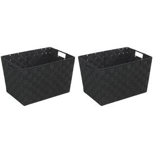 WENKO Aufbewahrungsboxen »Adria schwarz, Größe M«, 2er-Set