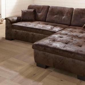 Home Affaire Ecksofa »Bergen« ohne Bettfunktion, braun, H: 41cm, hoher Sitzkomfort