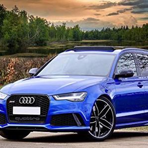 Zopix Poster Audi Rs6 Auto Blau Sportwagen Wandbild - Premium (70x50 cm, versch. Größen) - 190g Premium-Papierdruck - Inklusive Poster-Stripes
