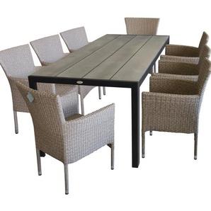 9tlg. Terrassenmöbel - Gartentisch, Polywood-Tischplatte, 205x90cm + 8x Gartensessel, Poly-Rattangeflecht, naturfarben - MULTISTORE 2002