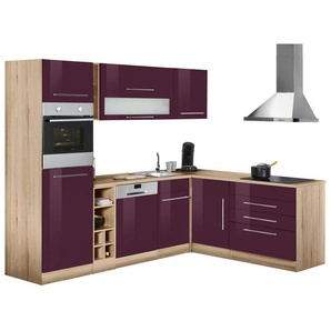 HELD MÖBEL Winkelküche mit E-Geräten »Eton«, Stellbreite 260/190 cm, lila