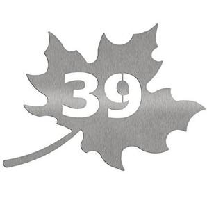 Edelstahl Hausnummernschild Hausnummer in Blattform, Ahornblatt (1-3 Zeichen) (41 x 34cm)