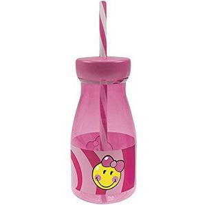 zak! Smiley Girl Trinkflasche mit Strohhalm, pink, 36 cl