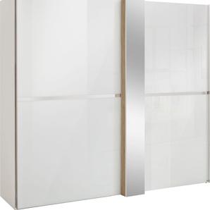 Schwebetürenschrank in Weißglas mit Dekorfront und Spiegel »fontana«, weiß, Breite 200 cm, FSC®-zertifiziert, set one by Musterring