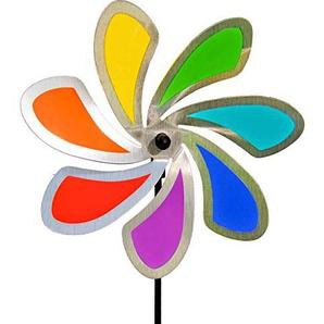 CIM Edelstahl Windrad - Blume 28 Solid Rainbow - extrem wetterfest - Windrad: Ø28cm - inkl. 72cm Standstab und Bodendübel (Solid Rainbow)