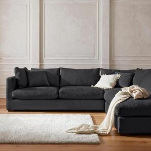 GMK Home & Living Ecksofa »Pantin«, extra weich und kuschelig, Füllung auch mit Federn und Daunen, grau, Struktur fein