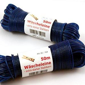 Wäscheleine 50m mit Stahleinlage -K&B Vertrieb- Stahlseil Stahlseilwäscheleine Wäsche Leine extra stark 704 (Blau)